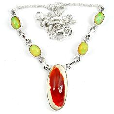Natural orange mexican fire opal ethiopian opal 925 silver necklace m5053