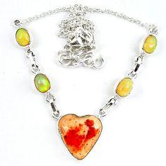 Natural orange mexican fire opal ethiopian opal 925 silver necklace m5055