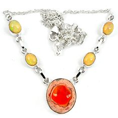 Natural orange mexican fire opal ethiopian opal 925 silver necklace m5056