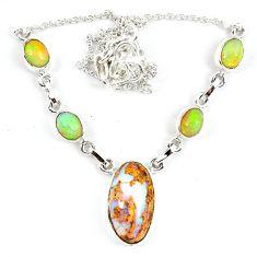 925 silver natural orange mexican fire opal ethiopian opal necklace m5057