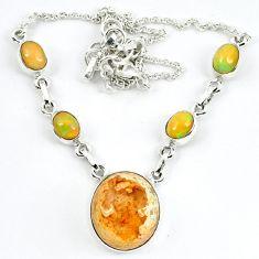 Natural orange mexican fire opal ethiopian opal 925 silver necklace m5059