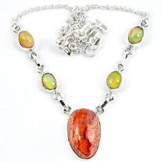 925 silver natural orange mexican fire opal ethiopian opal necklace m5060