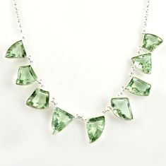 55.85cts natural green amethyst 925 sterling silver necklace jewelry r14181