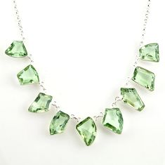 925 sterling silver 54.78cts natural green amethyst fancy necklace r14183