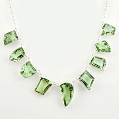 58.09cts natural green amethyst 925 sterling silver necklace jewelry r14184