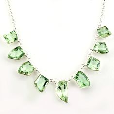 49.39cts natural green amethyst 925 sterling silver necklace jewelry r14185