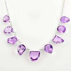 52.29cts natural pink amethyst 925 sterling silver necklace jewelry r14187