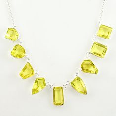 52.26cts natural lemon topaz fancy 925 sterling silver necklace jewelry r14188