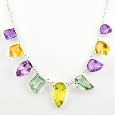925 sterling silver 50.05cts natural lemon topaz amethyst fancy necklace r14191