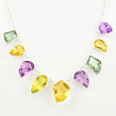51.88cts natural yellow citrine amethyst lemon topaz 925 silver necklace r14192