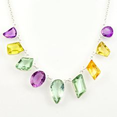 46.73cts natural green amethyst citrine lemon topaz 925 silver necklace r14193
