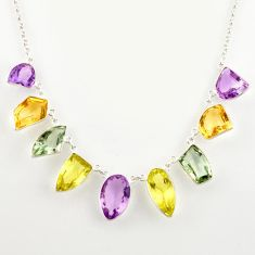 52.26cts natural pink amethyst citrine lemon topaz 925 silver necklace r14194