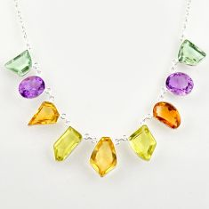 925 silver 51.30cts natural yellow citrine amethyst lemon topaz necklace r14195
