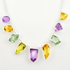 925 sterling silver 51.88cts natural pink amethyst citrine fancy necklace r14197