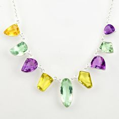 49.36cts natural green amethyst citrine lemon topaz 925 silver necklace r14198