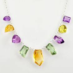 49.39cts natural yellow citrine amethyst 925 sterling silver necklace r14200