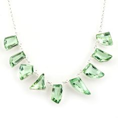 59.39cts natural green amethyst 925 sterling silver necklace jewelry r14201