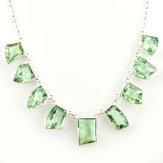 54.78cts natural green amethyst 925 sterling silver necklace jewelry r14202