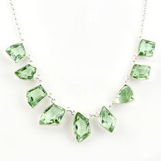 55.85cts natural green amethyst 925 sterling silver necklace jewelry r14203