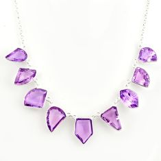 925 sterling silver 57.62cts natural pink amethyst fancy necklace jewelry r14204