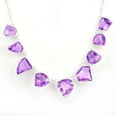 925 sterling silver 57.62cts natural pink amethyst fancy necklace jewelry r14207