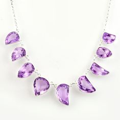 55.19cts natural pink amethyst 925 sterling silver necklace jewelry r14208