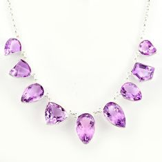 57.10cts natural pink amethyst 925 sterling silver necklace jewelry r14209
