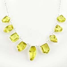55.19cts natural lemon topaz 925 sterling silver necklace jewelry r14210