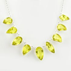 54.78cts natural lemon topaz 925 sterling silver necklace jewelry r14211