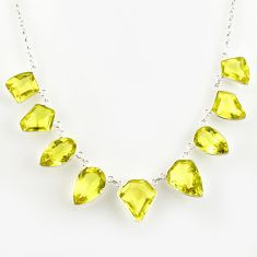 55.85cts natural lemon topaz 925 sterling silver necklace jewelry r14213