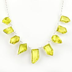 57.10cts natural lemon topaz 925 sterling silver necklace jewelry r14214