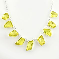 58.09cts natural lemon topaz 925 sterling silver necklace jewelry r14215