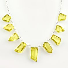 925 sterling silver 54.20cts natural lemon topaz necklace jewelry r14216