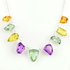 925 silver 55.19cts natural green amethyst yellow citrine necklace r14217