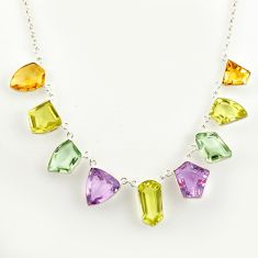 52.95cts natural lemon topaz amethyst 925 sterling silver necklace r14219