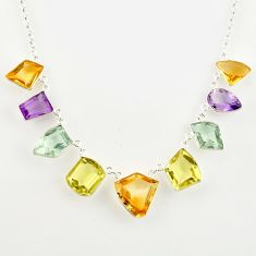 925 sterling silver 52.95cts natural yellow citrine amethyst necklace r14220
