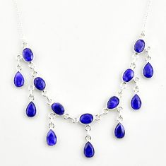 20.27cts natural blue sapphire 925 sterling silver necklace jewelry r14402
