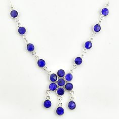 925 sterling silver 19.91cts natural blue sapphire round necklace jewelry r14403