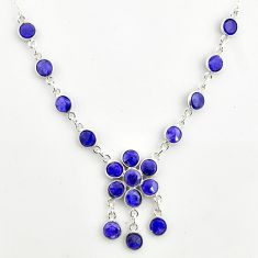 19.24cts natural blue sapphire 925 sterling silver necklace jewelry r14404
