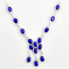 925 sterling silver 20.86cts natural blue sapphire necklace jewelry r14406