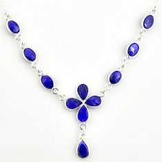 16.17cts natural blue sapphire 925 sterling silver necklace jewelry r14407