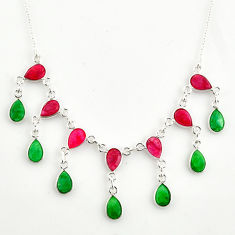 22.04cts natural red ruby green emerald 925 sterling silver necklace r14408