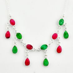 18.98cts natural red ruby green emerald 925 sterling silver necklace r14409