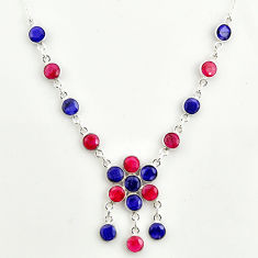925 sterling silver 19.57cts natural red ruby blue sapphire necklace r14410