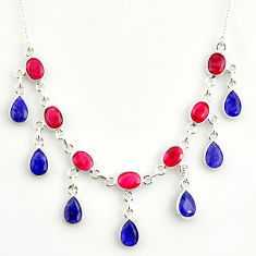 21.71cts natural red ruby sapphire 925 sterling silver necklace jewelry r14412