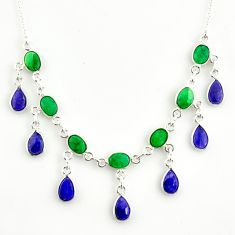 925 sterling silver 22.04cts natural green emerald sapphire necklace r14413