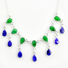 21.76cts natural green emerald sapphire 925 sterling silver necklace r14414