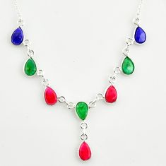 14.39cts natural blue sapphire ruby emerald 925 sterling silver necklace r14416