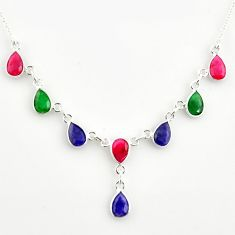 14.41cts natural blue sapphire ruby emerald 925 sterling silver necklace r14417