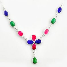 925 sterling silver 17.67cts natural blue sapphire ruby emerald necklace r14418